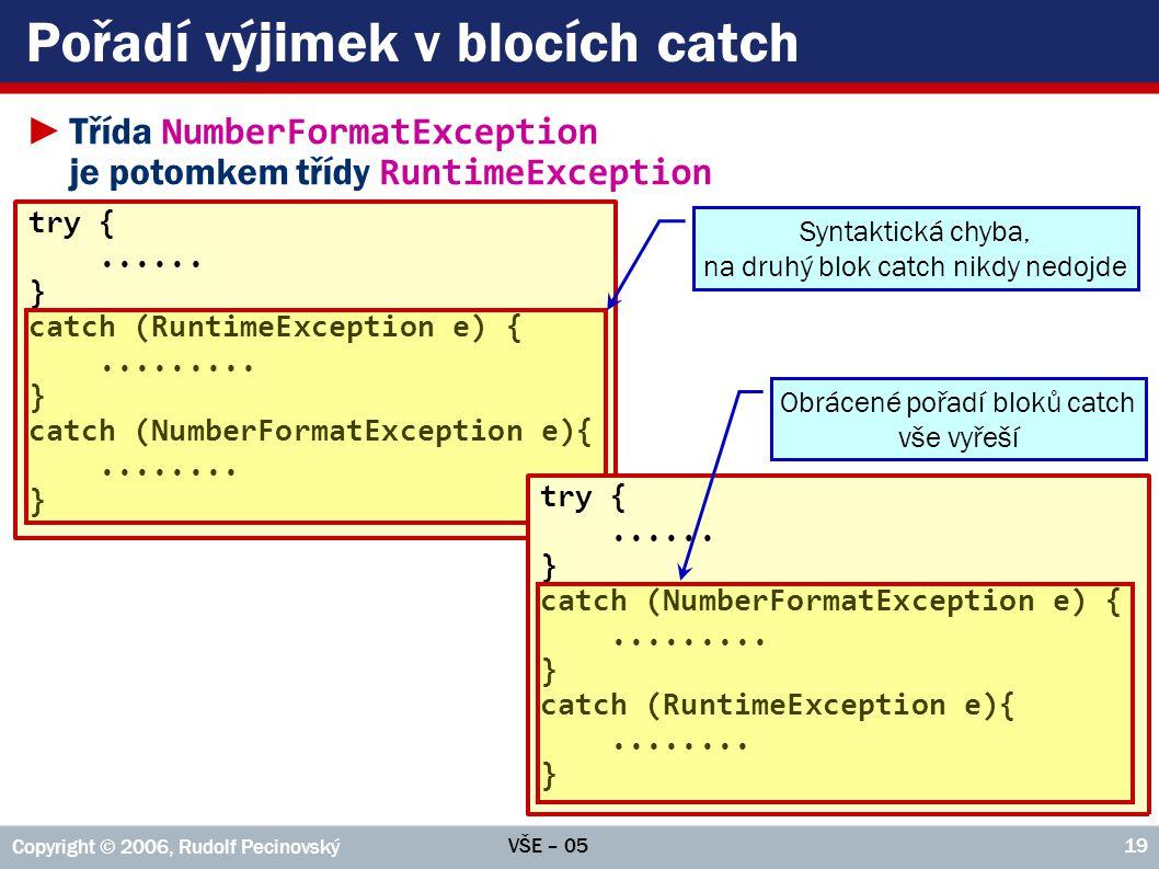 Pořadí výjimek v blocích catch