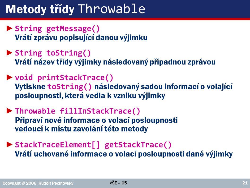 Metody třídy Throwable