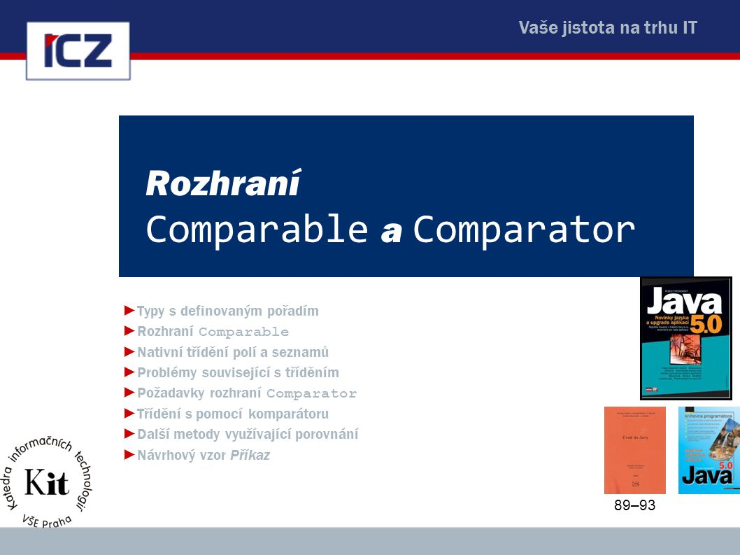 Rozhraní Comparable a Comparator