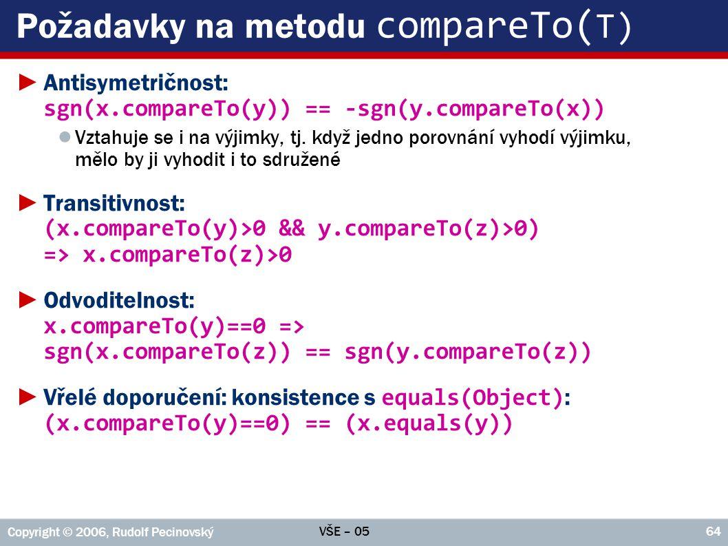 Požadavky na metodu compareTo(T)