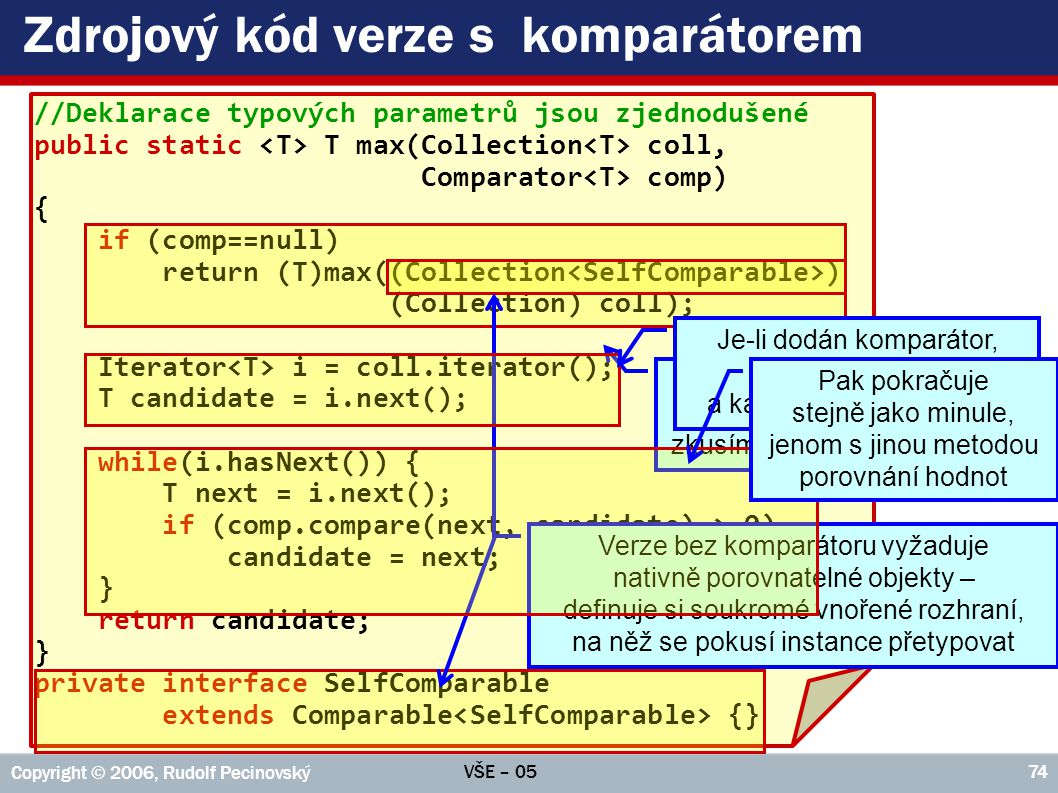 Zdrojový kód verze s komparátorem