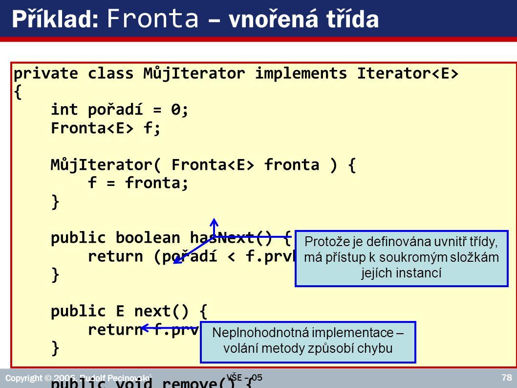 Příklad: Fronta – vnořená třída