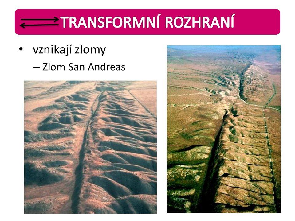 TRANSFORMNÍ ROZHRANÍ vznikají zlomy Zlom San Andreas