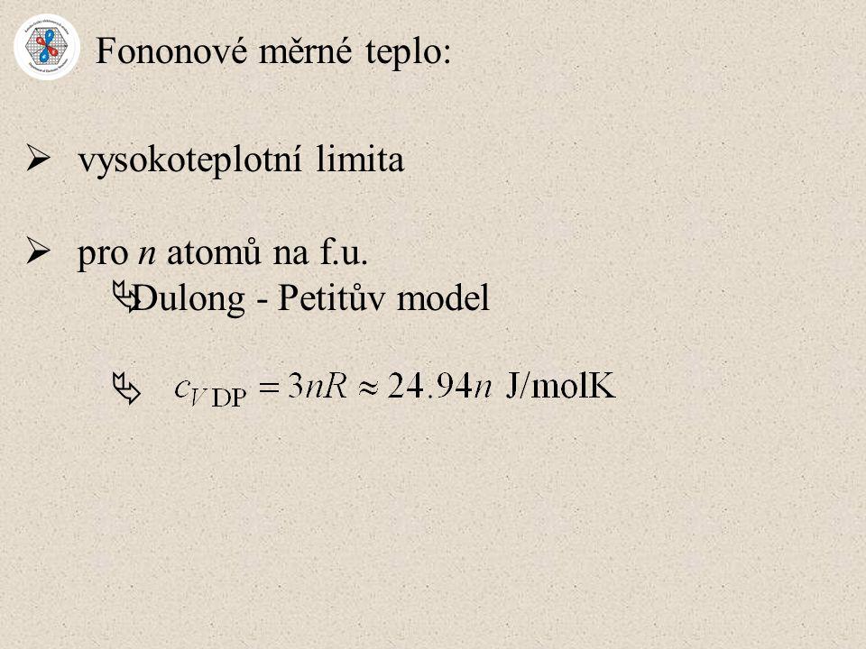 Fononové měrné teplo: vysokoteplotní limita pro n atomů na f.u. Dulong - Petitův model