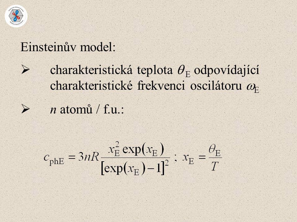 Einsteinův model: charakteristická teplota  E odpovídající charakteristické frekvenci oscilátoru E.