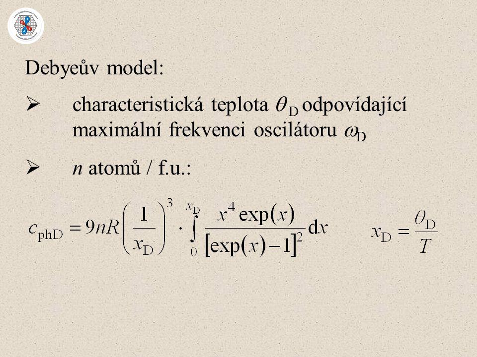 Debyeův model: characteristická teplota  D odpovídající maximální frekvenci oscilátoru D.