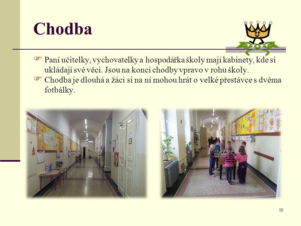 Chodba Paní učitelky, vychovatelky a hospodářka školy mají kabinety, kde si ukládají své věci. Jsou na konci chodby vpravo v rohu školy.
