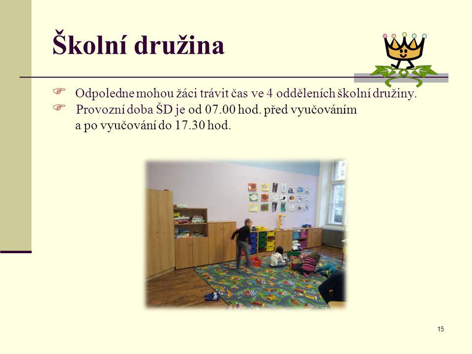 Školní družina Odpoledne mohou žáci trávit čas ve 4 odděleních školní družiny. Provozní doba ŠD je od 07.00 hod. před vyučováním.