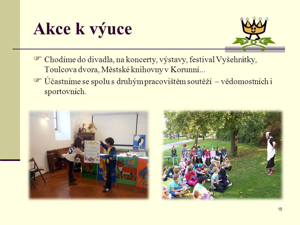 Akce k výuce Chodíme do divadla, na koncerty, výstavy, festival Vyšehrátky, Toulcova dvora, Městské knihovny v Korunní...