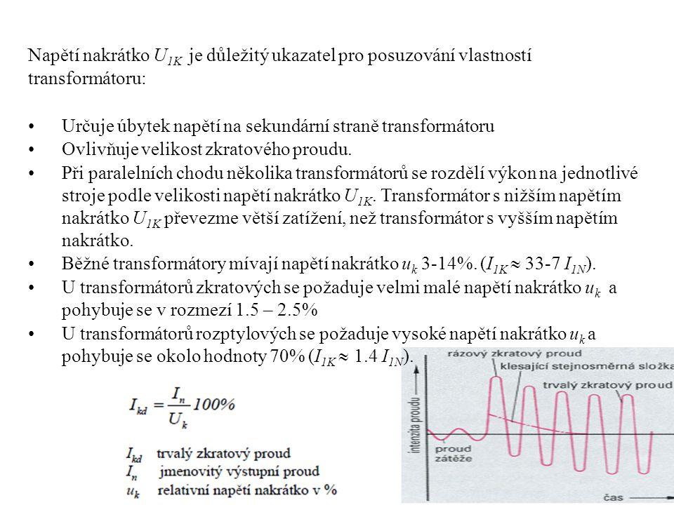 Napětí nakrátko U1K je důležitý ukazatel pro posuzování vlastností