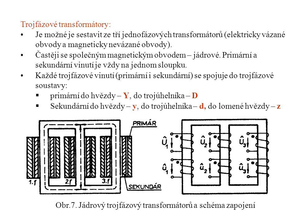 Obr.7. Jádrový trojfázový transformátorů a schéma zapojení