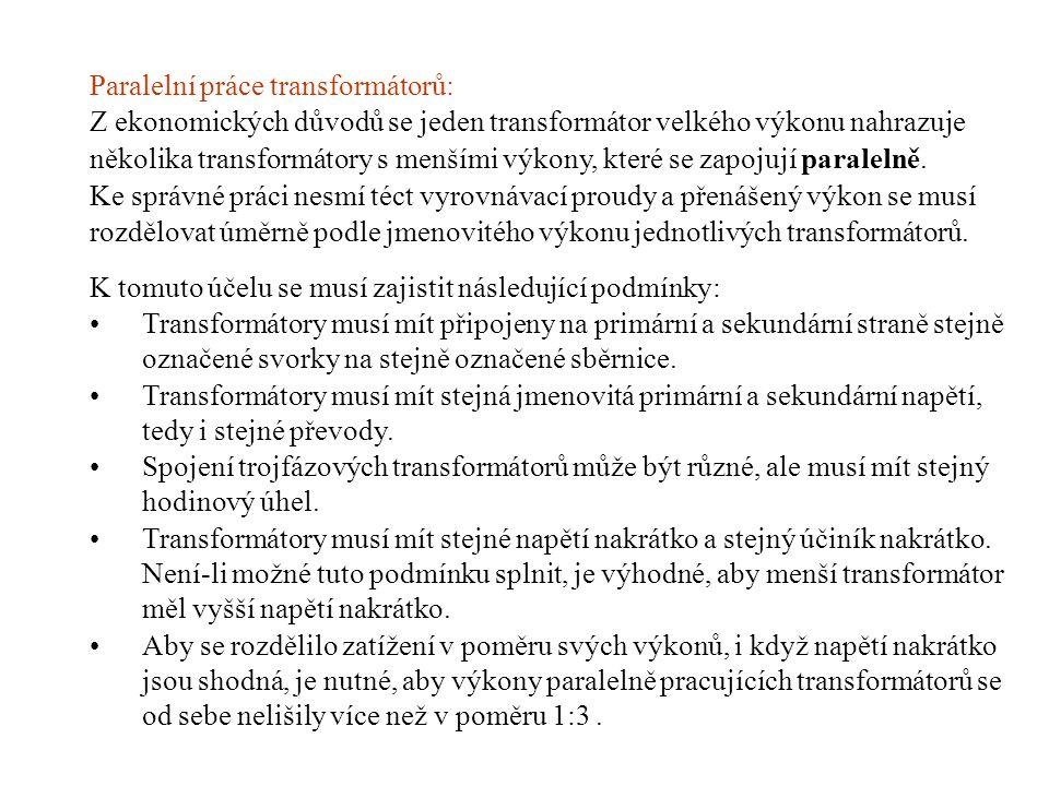 Paralelní práce transformátorů: