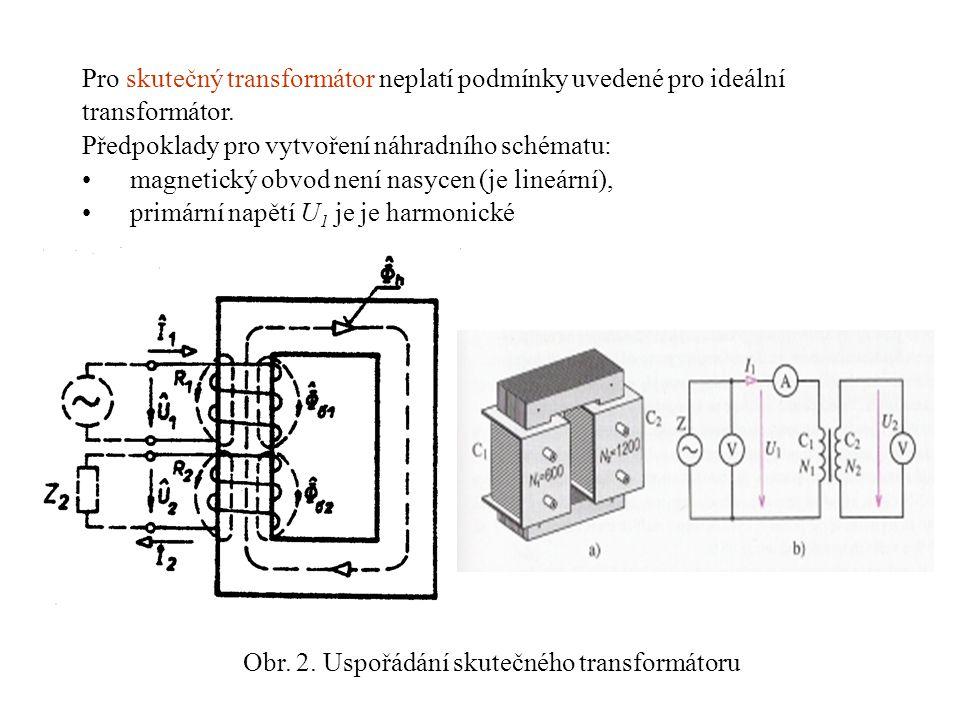 Obr. 2. Uspořádání skutečného transformátoru