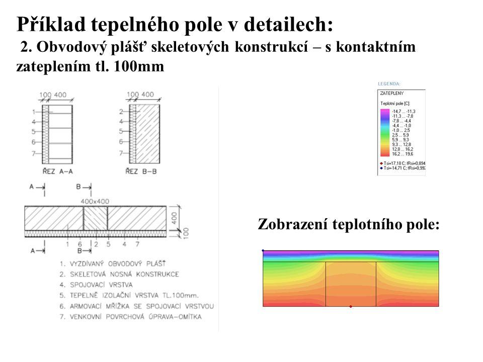SEZNAM PŘÍLOH Příklad tepelného pole v detailech: 2. Obvodový plášť skeletových konstrukcí – s kontaktním zateplením tl. 100mm.