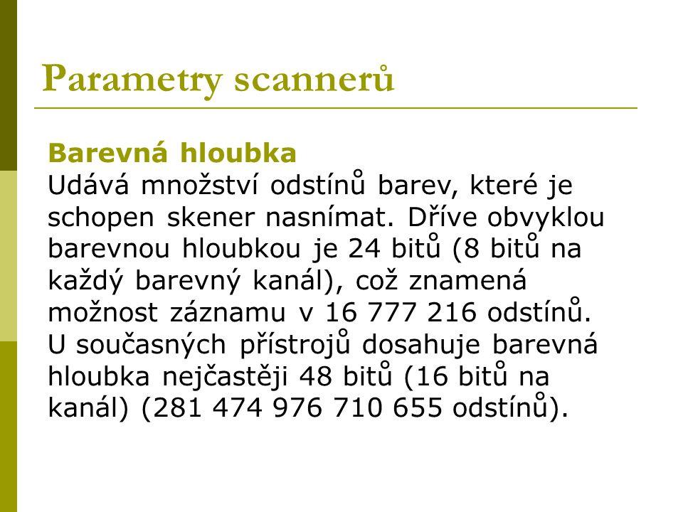 Parametry scannerů Barevná hloubka