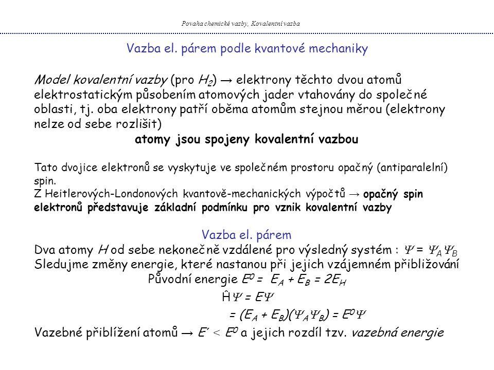 Elektronová struktura atomu Vazba el. párem podle kvantové mechaniky