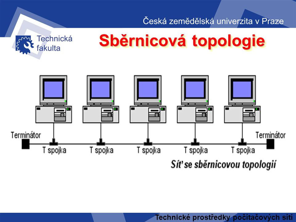 Sběrnicová topologie Technické prostředky počítačových sítí