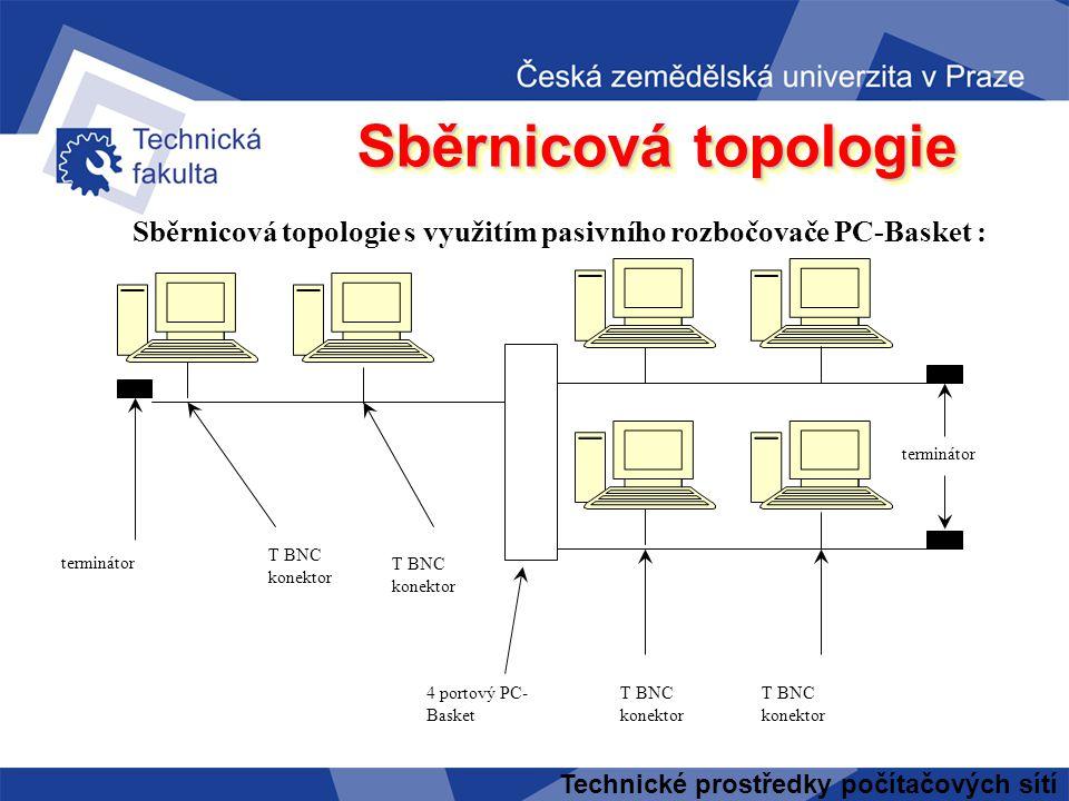 Sběrnicová topologie Sběrnicová topologie s využitím pasivního rozbočovače PC-Basket : terminátor.