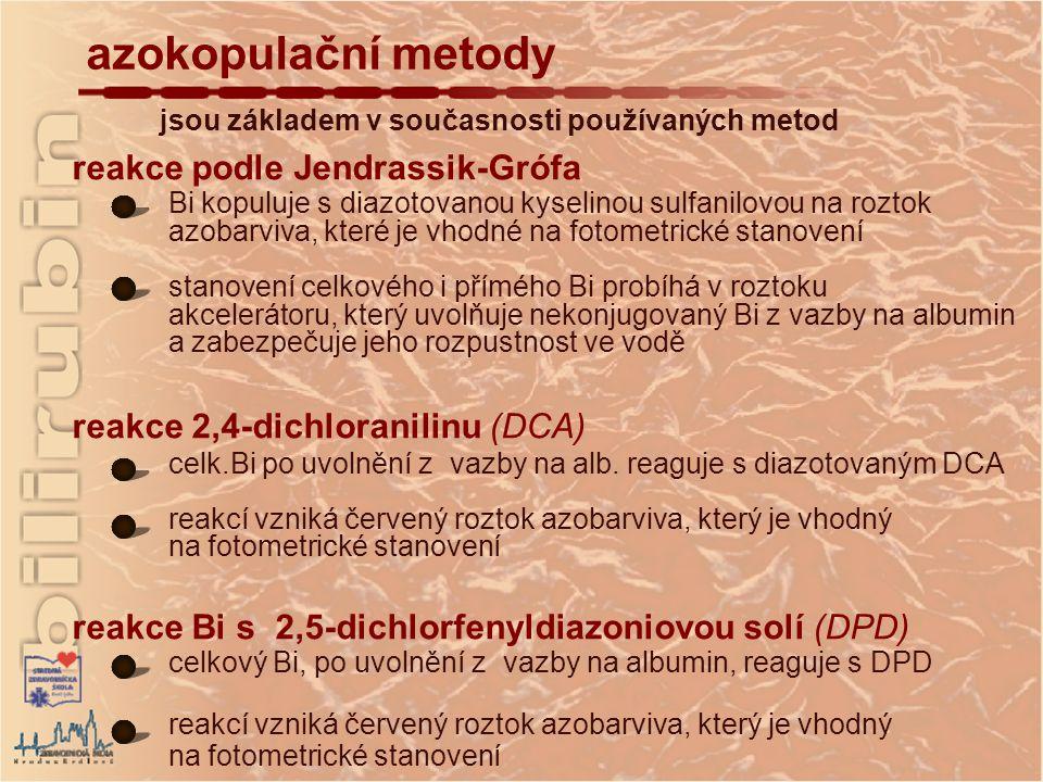 azokopulační metody reakce podle Jendrassik-Grófa