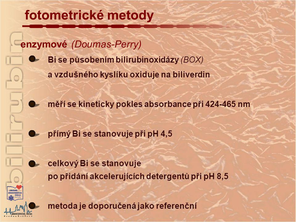 fotometrické metody enzymové (Doumas-Perry)