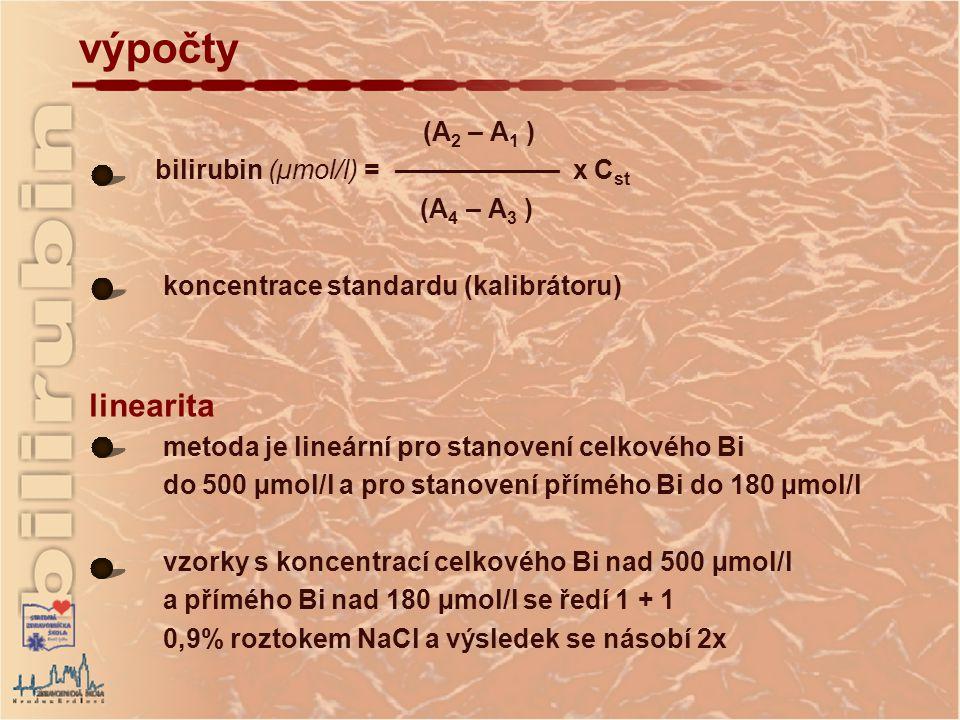výpočty linearita (A2 – A1 ) bilirubin (µmol/l) = ––––––––––– x Cst