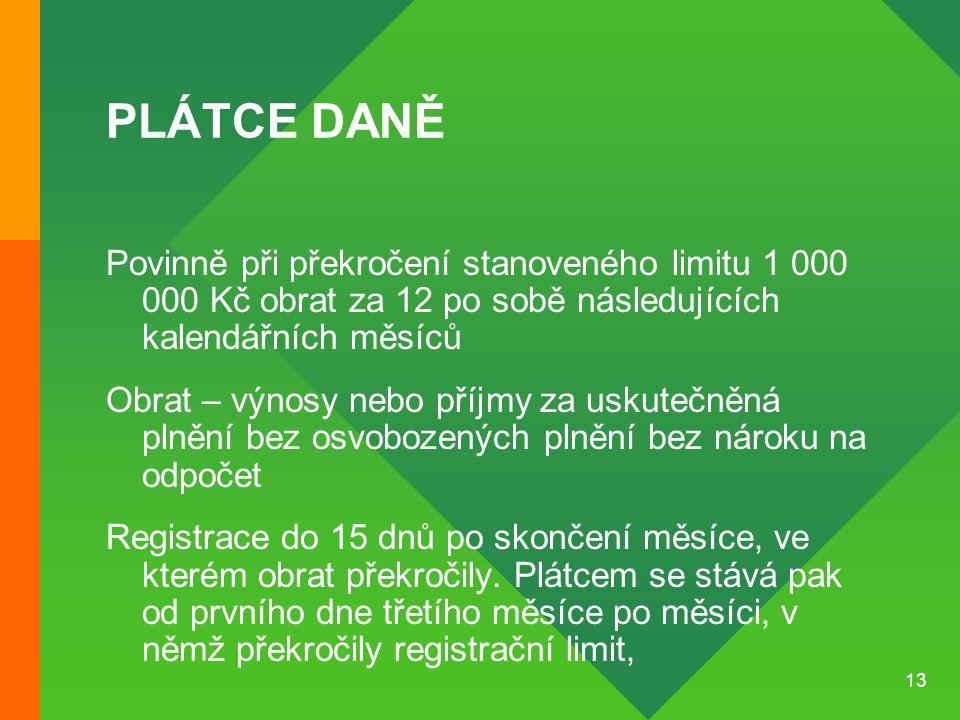PLÁTCE DANĚ Povinně při překročení stanoveného limitu 1 000 000 Kč obrat za 12 po sobě následujících kalendářních měsíců.