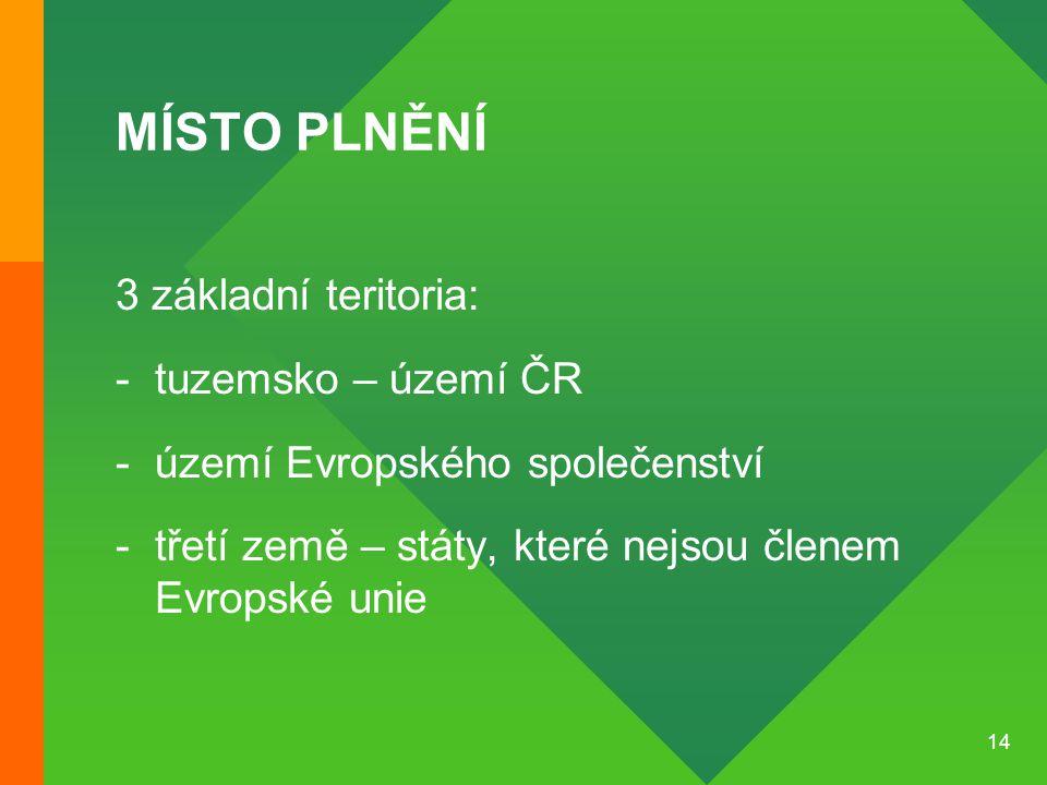 MÍSTO PLNĚNÍ 3 základní teritoria: tuzemsko – území ČR