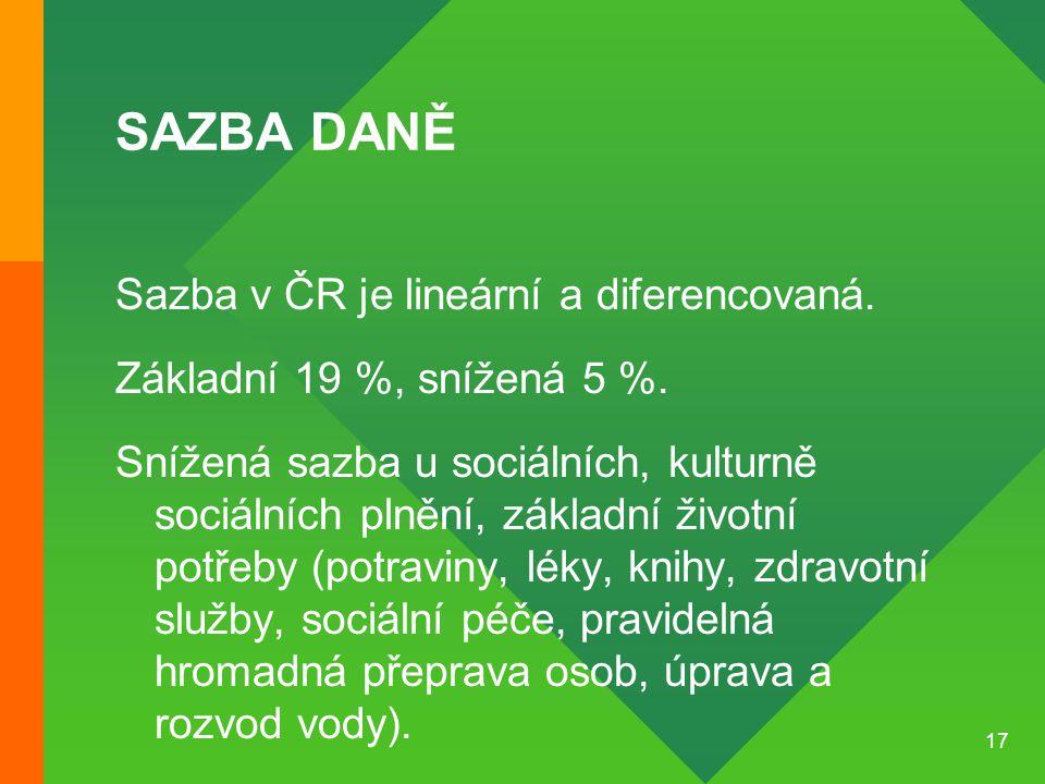 SAZBA DANĚ Sazba v ČR je lineární a diferencovaná.