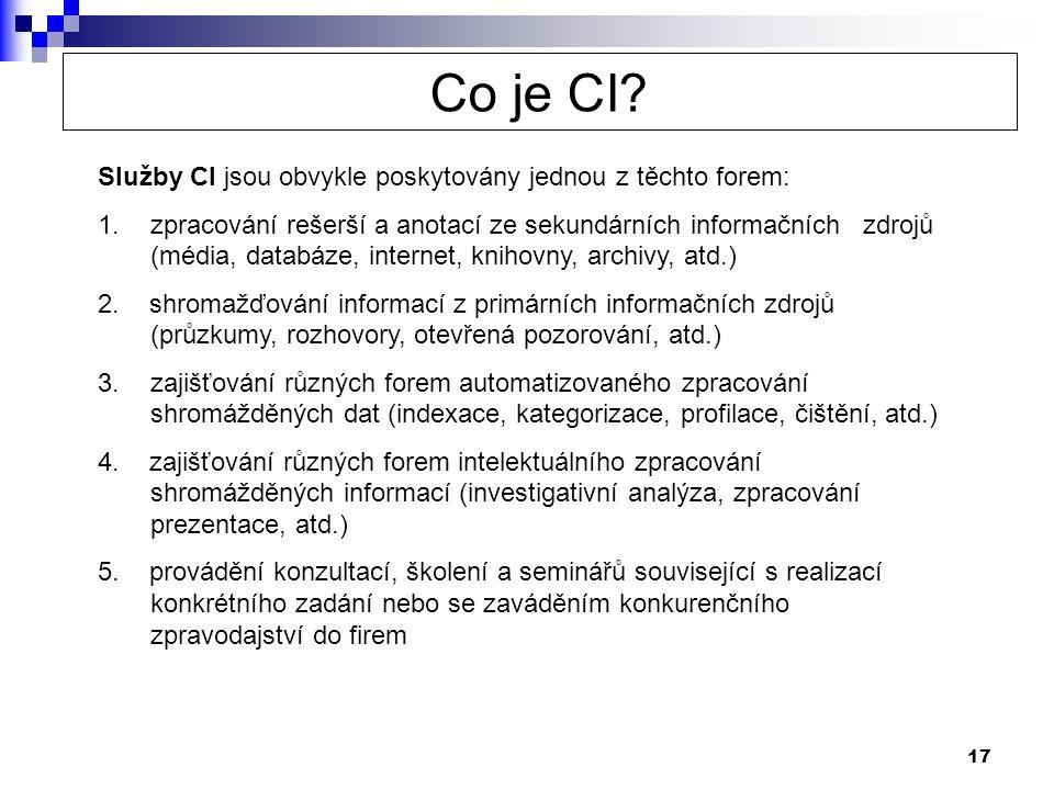 Co je CI Služby CI jsou obvykle poskytovány jednou z těchto forem: