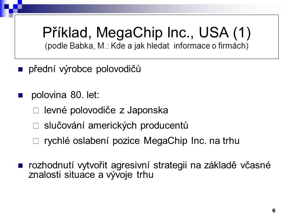 Příklad, MegaChip Inc. , USA (1) (podle Babka, M