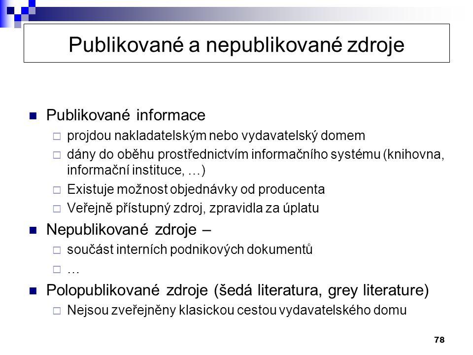 Publikované a nepublikované zdroje