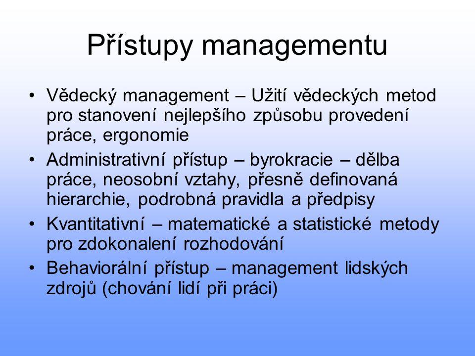 Přístupy managementu Vědecký management – Užití vědeckých metod pro stanovení nejlepšího způsobu provedení práce, ergonomie.
