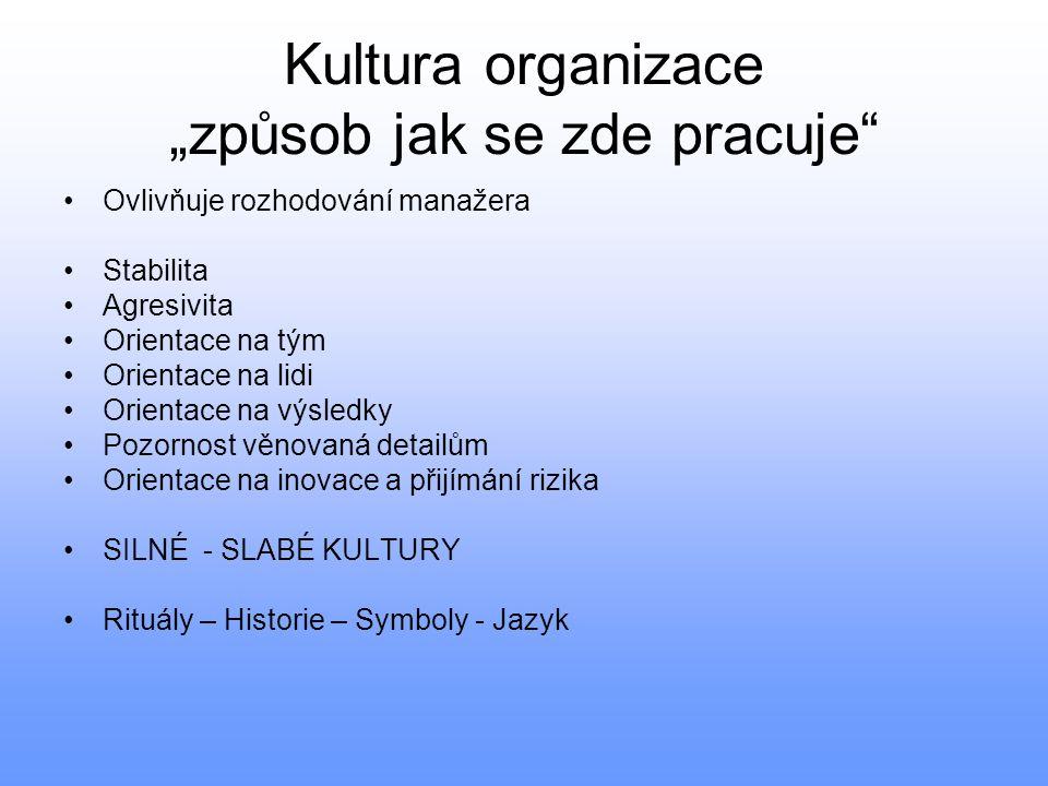 """Kultura organizace """"způsob jak se zde pracuje"""