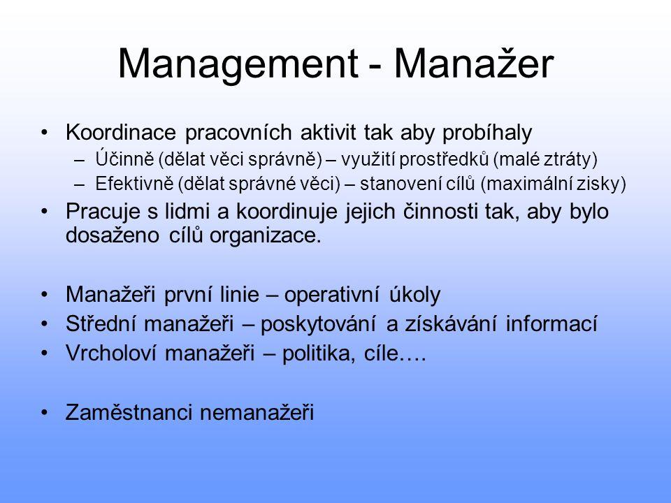 Management - Manažer Koordinace pracovních aktivit tak aby probíhaly