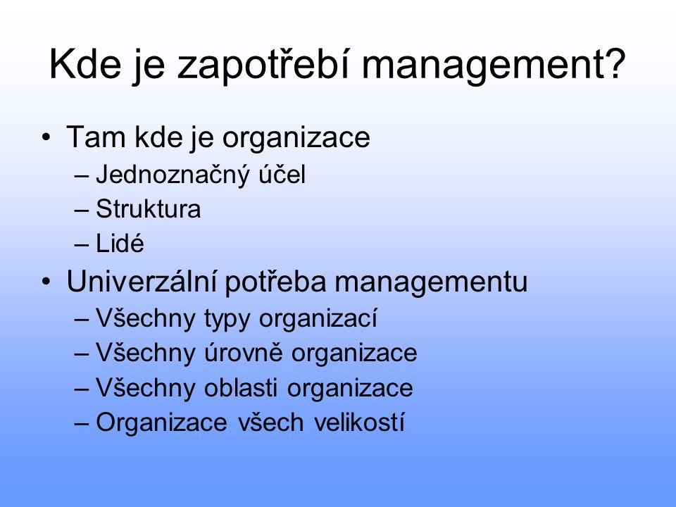 Kde je zapotřebí management