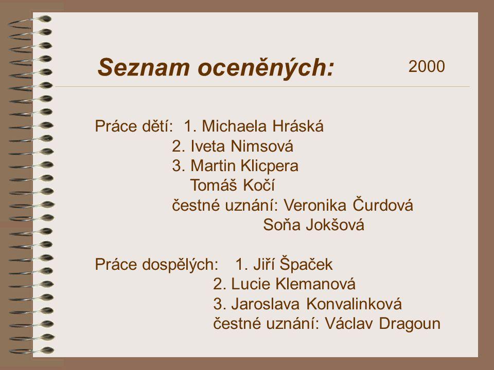 Seznam oceněných: 2000 Práce dětí: 1. Michaela Hráská 2. Iveta Nimsová