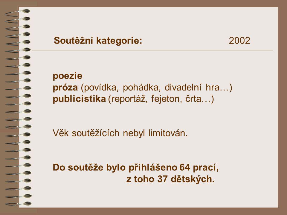 Soutěžní kategorie: 2002 poezie. próza (povídka, pohádka, divadelní hra…)