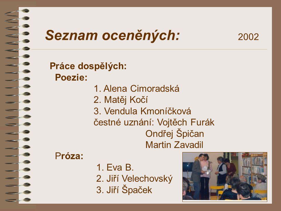 Seznam oceněných: 2002 Práce dospělých: Poezie: 1. Alena Cimoradská