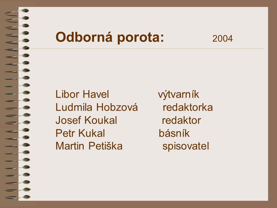 Odborná porota: Libor Havel výtvarník Ludmila Hobzová redaktorka