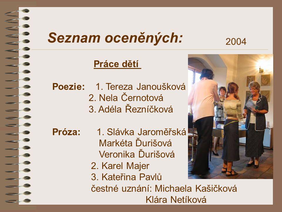 Seznam oceněných: 2004 Práce dětí Poezie: 1. Tereza Janoušková