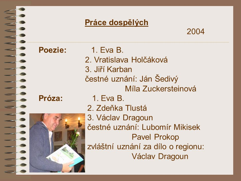 Práce dospělých 2004. Poezie: 1. Eva B. 2. Vratislava Holčáková. 3. Jiří Karban. čestné uznání: Ján Šedivý.