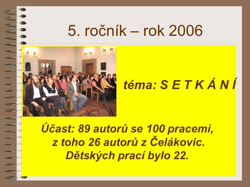 Účast: 89 autorů se 100 pracemi, z toho 26 autorů z Čelákovic.