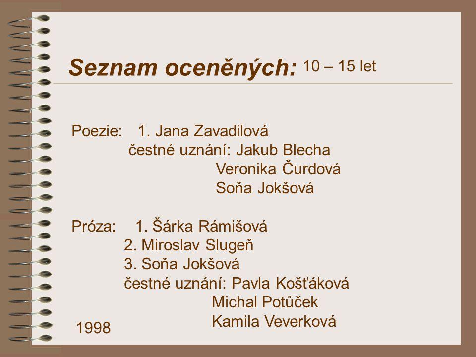 Seznam oceněných: 10 – 15 let Poezie: 1. Jana Zavadilová
