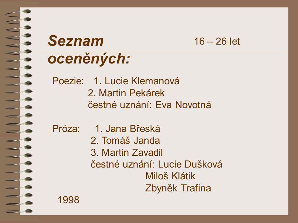Seznam oceněných: 16 – 26 let Poezie: 1. Lucie Klemanová