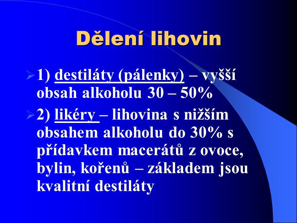 Dělení lihovin 1) destiláty (pálenky) – vyšší obsah alkoholu 30 – 50%