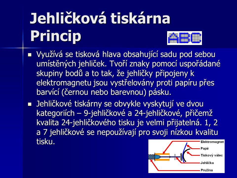 Jehličková tiskárna Princip