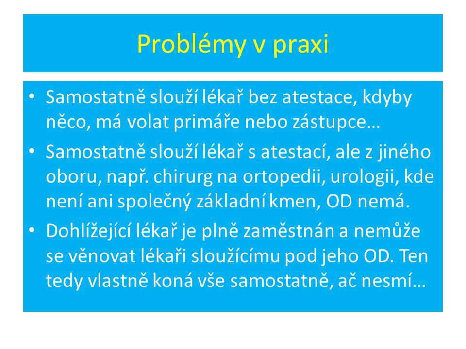 Problémy v praxi Samostatně slouží lékař bez atestace, kdyby něco, má volat primáře nebo zástupce…