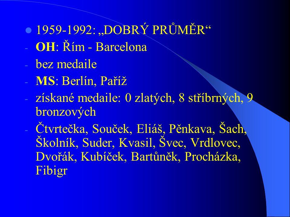 """1959-1992: """"DOBRÝ PRŮMĚR OH: Řím - Barcelona. bez medaile. MS: Berlín, Paříž. získané medaile: 0 zlatých, 8 stříbrných, 9 bronzových."""