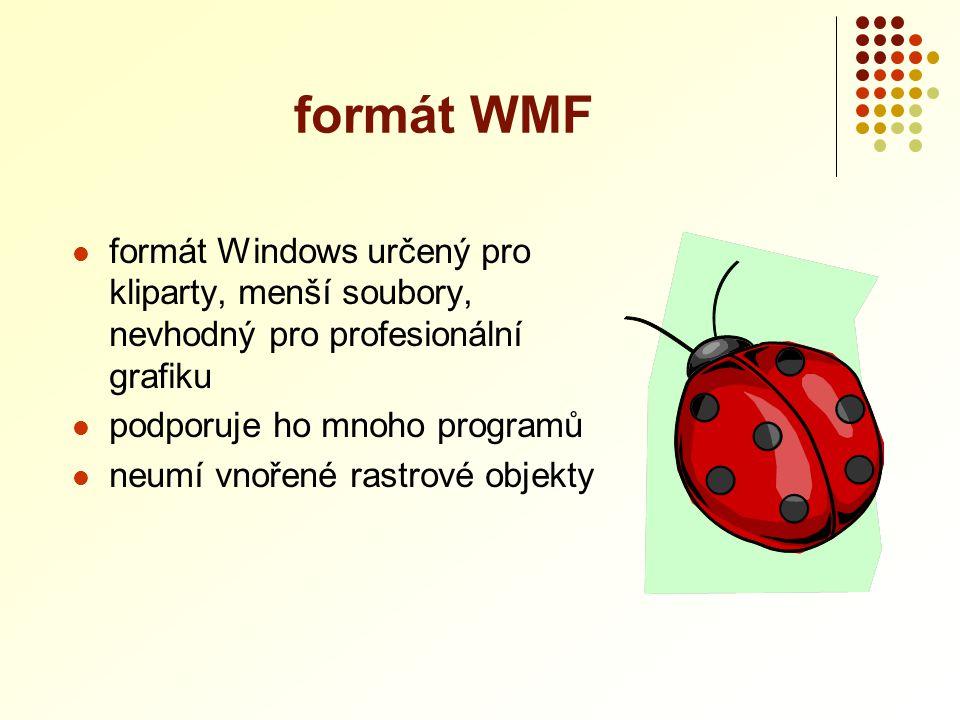 formát WMF formát Windows určený pro kliparty, menší soubory, nevhodný pro profesionální grafiku. podporuje ho mnoho programů.