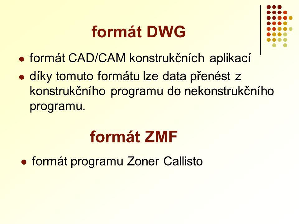 formát DWG formát ZMF formát CAD/CAM konstrukčních aplikací